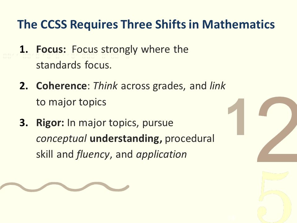 14 The CCSS Requires Three Shifts in Mathematics 1.Focus: Focus strongly where the standards focus. 2.Coherence: Think across grades, and link to majo