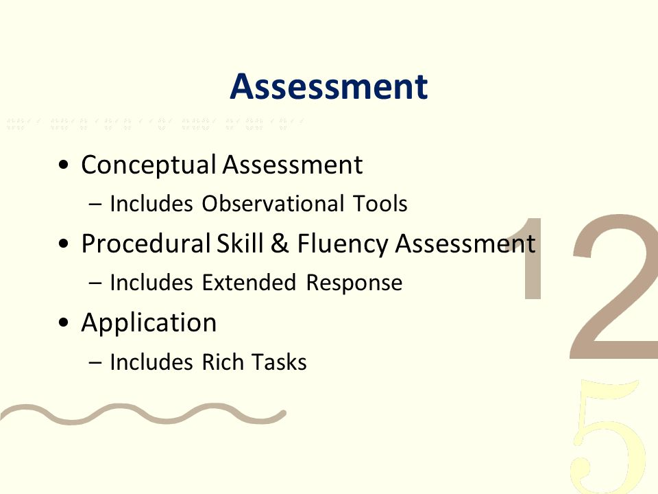 Assessment Conceptual Assessment –Includes Observational Tools Procedural Skill & Fluency Assessment –Includes Extended Response Application –Includes