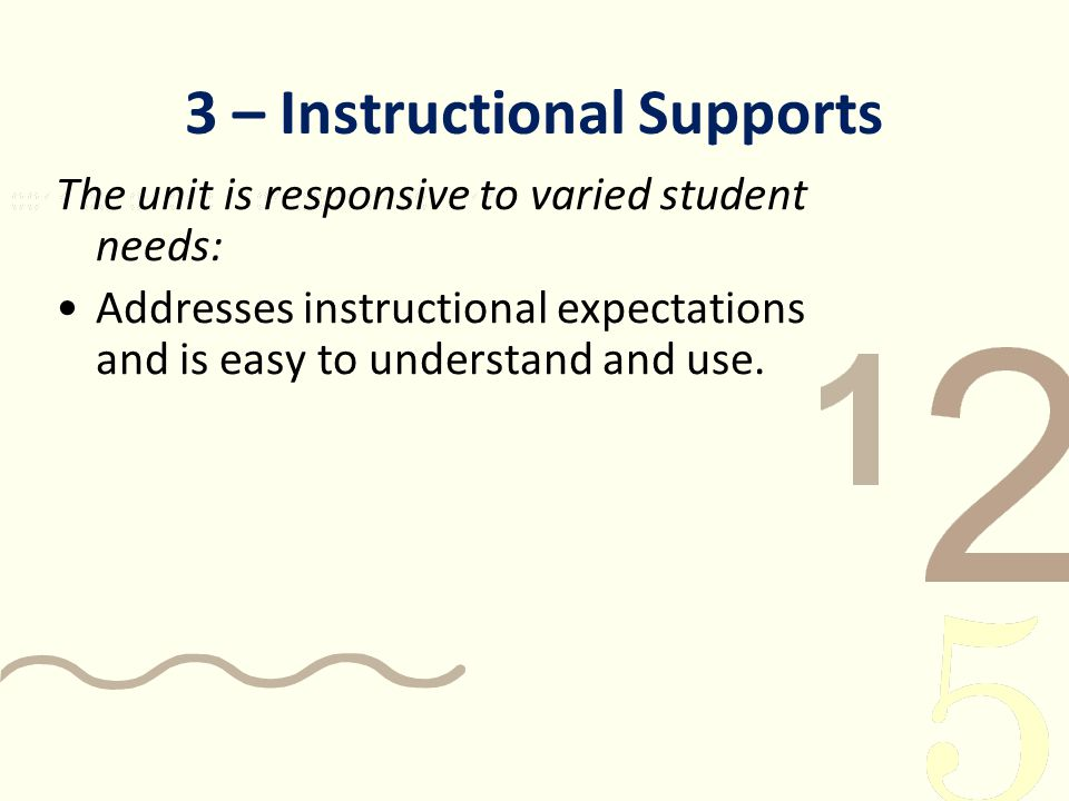 3 – Instructional Supports The unit is responsive to varied student needs: Addresses instructional expectations and is easy to understand and use.