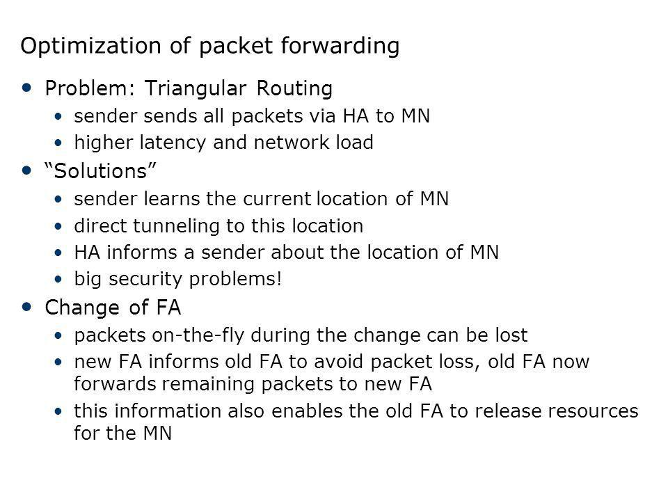 Optimization of packet forwarding Problem: Triangular Routing sender sends all packets via HA to MN higher latency and network load Solutions sender l