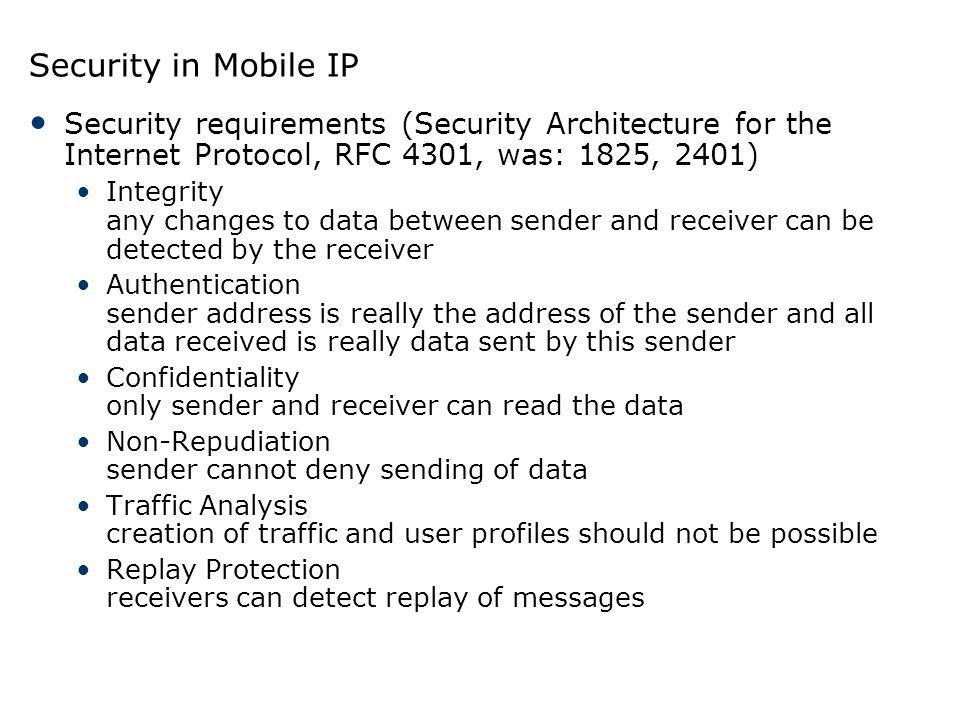 Security in Mobile IP Security requirements (Security Architecture for the Internet Protocol, RFC 4301, was: 1825, 2401) Integrity any changes to data