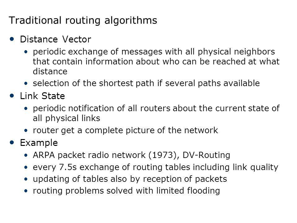 Traditional routing algorithms Distance Vector periodic exchange of messages with all physical neighbors that contain information about who can be rea