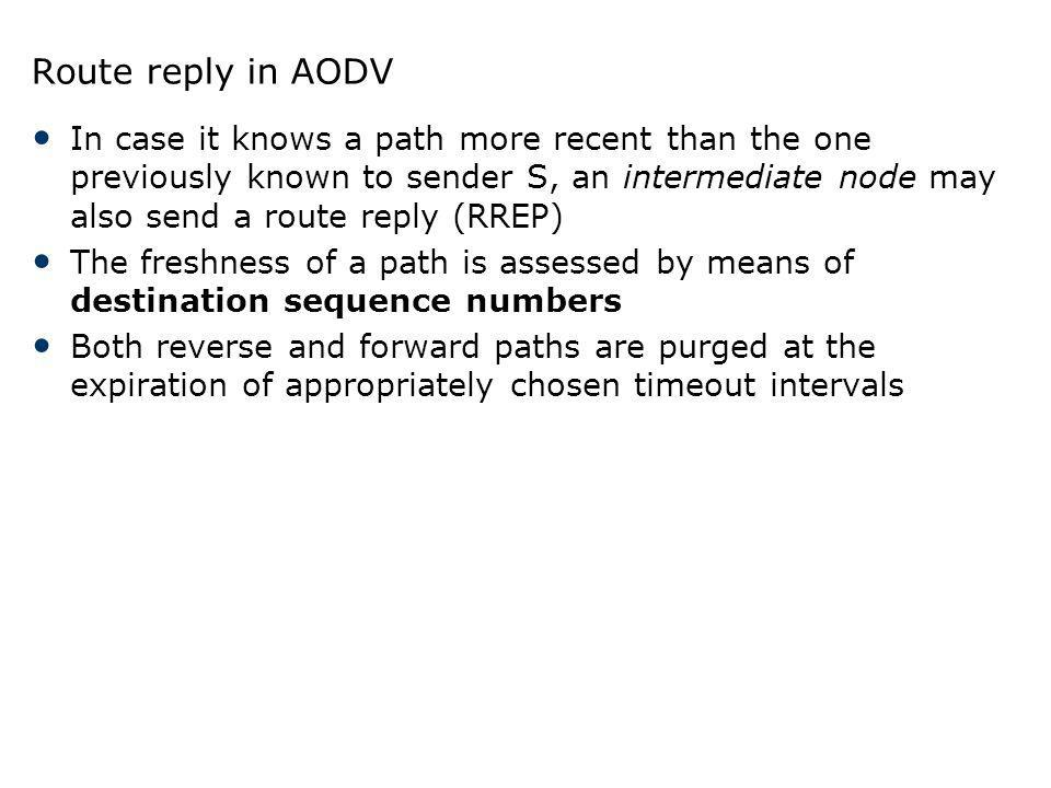 Route reply in AODV In case it knows a path more recent than the one previously known to sender S, an intermediate node may also send a route reply (R