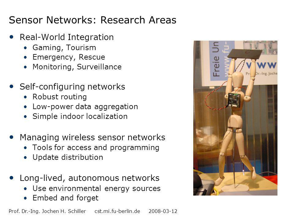 Prof. Dr.-Ing. Jochen H. Schiller cst.mi.fu-berlin.de 2008-03-12 Sensor Networks: Research Areas Real-World Integration Gaming, Tourism Emergency, Res