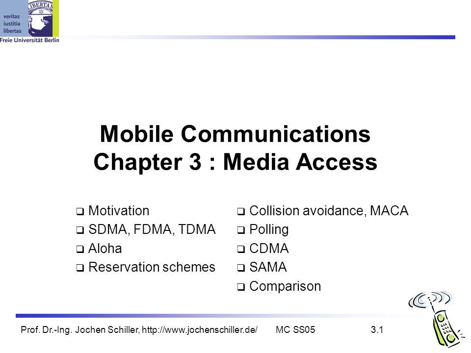 Prof. Dr.-Ing. Jochen Schiller, http://www.jochenschiller.de/MC SS053.1 Mobile Communications Chapter 3 : Media Access Motivation SDMA, FDMA, TDMA Alo