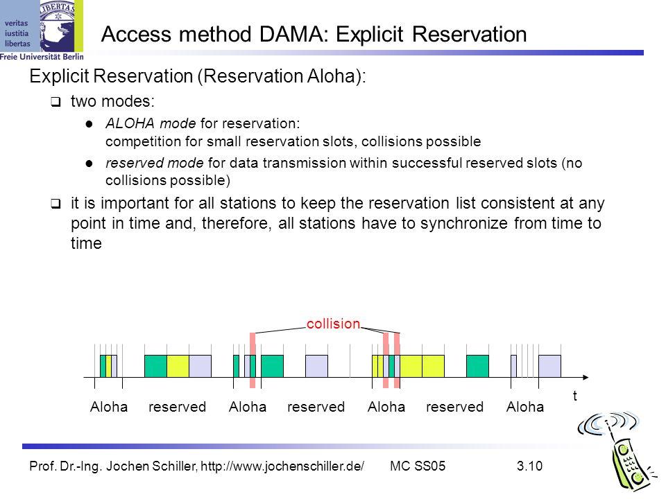 Prof. Dr.-Ing. Jochen Schiller, http://www.jochenschiller.de/MC SS053.10 Access method DAMA: Explicit Reservation Explicit Reservation (Reservation Al
