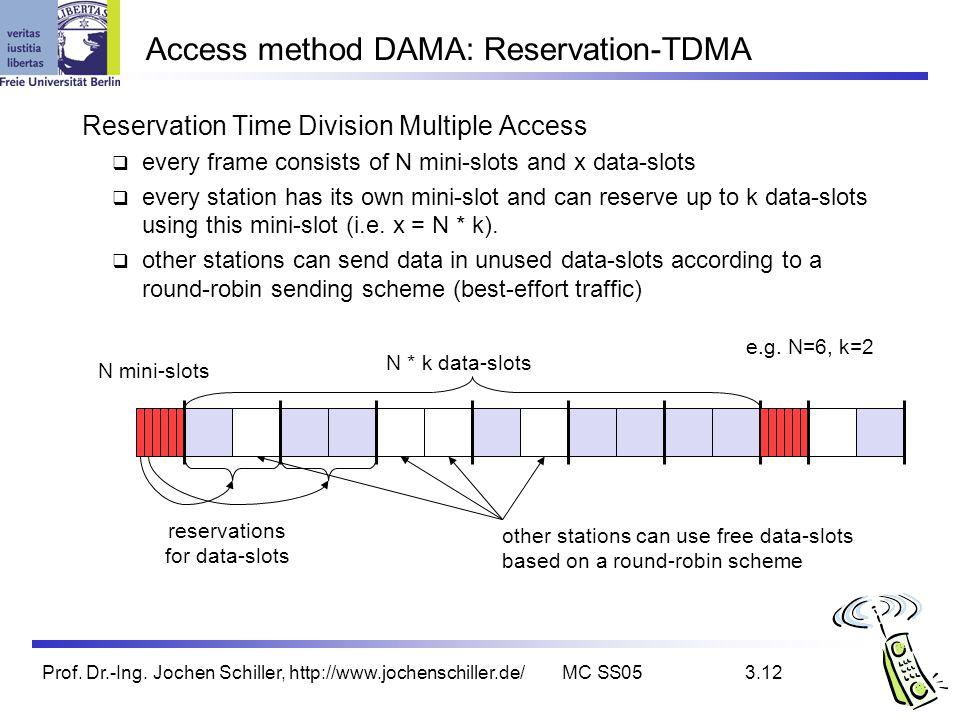 Prof. Dr.-Ing. Jochen Schiller, http://www.jochenschiller.de/MC SS053.12 Access method DAMA: Reservation-TDMA Reservation Time Division Multiple Acces