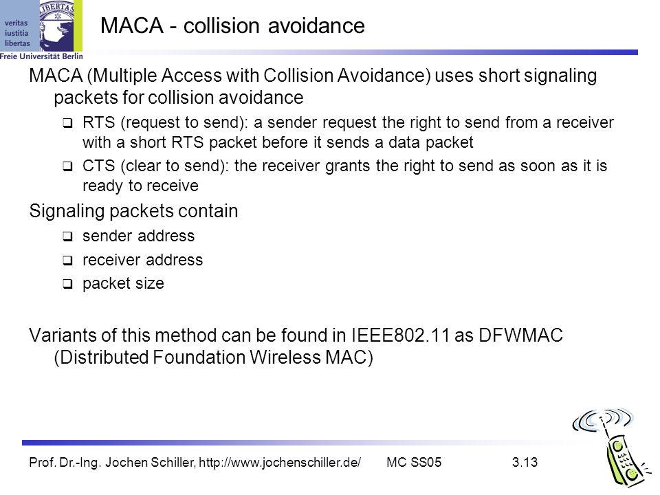 Prof. Dr.-Ing. Jochen Schiller, http://www.jochenschiller.de/MC SS053.13 MACA - collision avoidance MACA (Multiple Access with Collision Avoidance) us