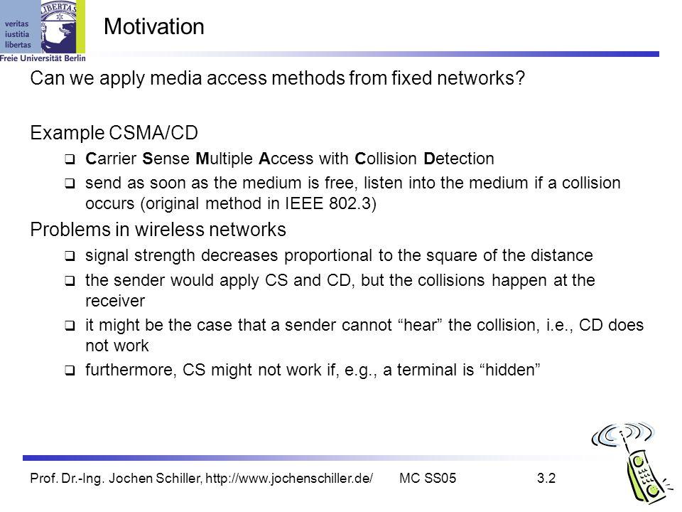 Prof. Dr.-Ing. Jochen Schiller, http://www.jochenschiller.de/MC SS053.2 Motivation Can we apply media access methods from fixed networks? Example CSMA