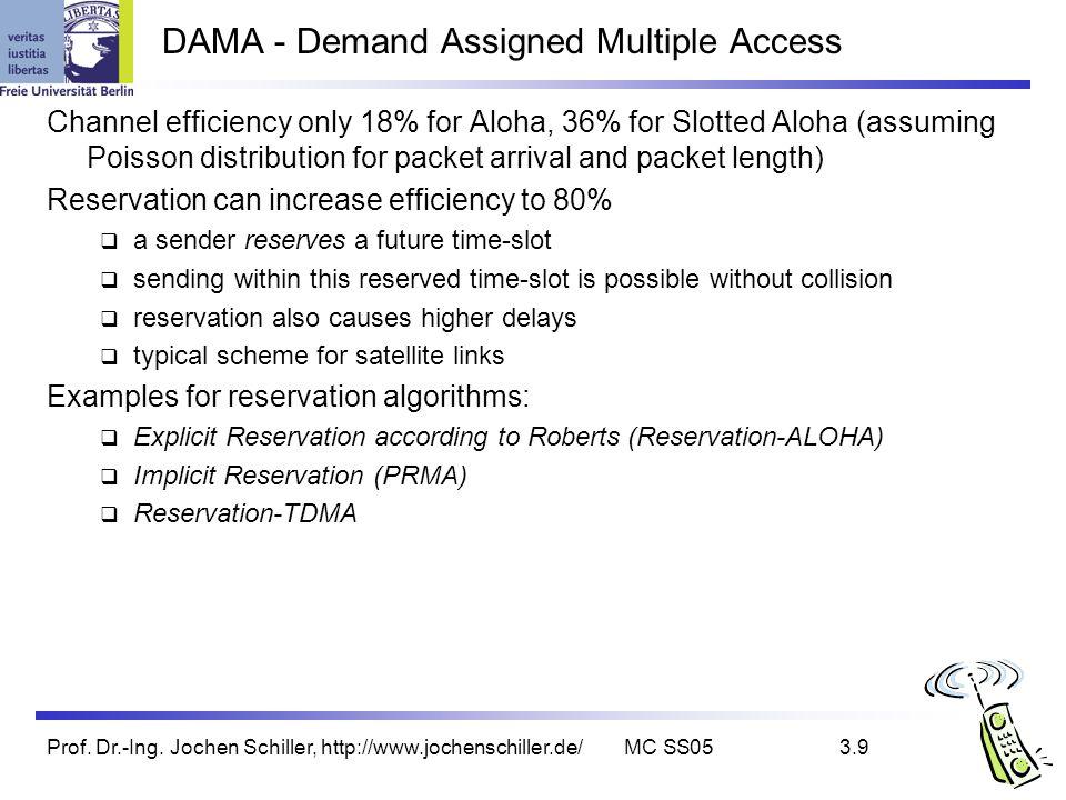 Prof. Dr.-Ing. Jochen Schiller, http://www.jochenschiller.de/MC SS053.9 DAMA - Demand Assigned Multiple Access Channel efficiency only 18% for Aloha,