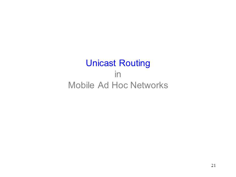 21 Unicast Routing in Mobile Ad Hoc Networks