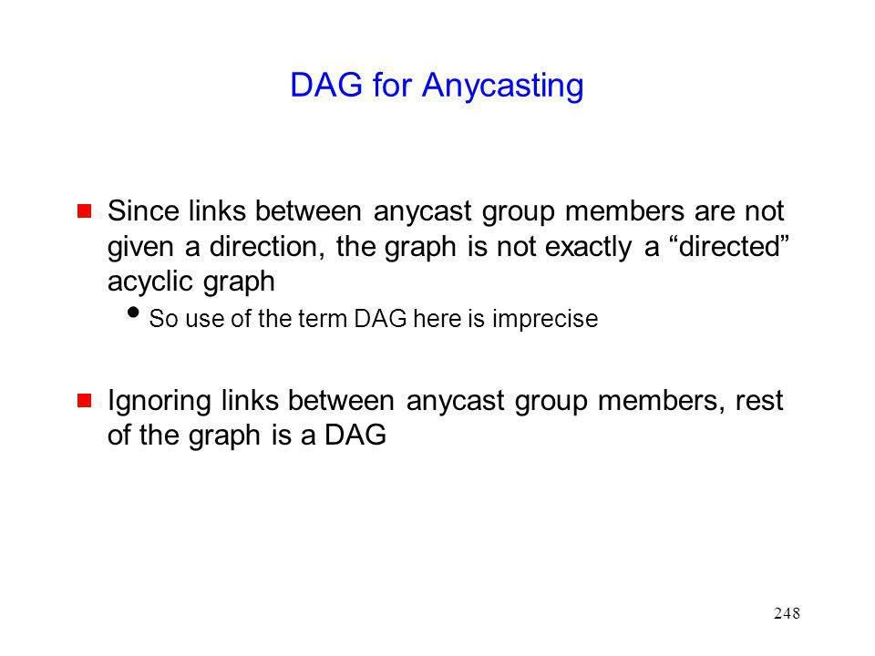 248 DAG for Anycasting Since links between anycast group members are not given a direction, the graph is not exactly a directed acyclic graph So use of the term DAG here is imprecise Ignoring links between anycast group members, rest of the graph is a DAG