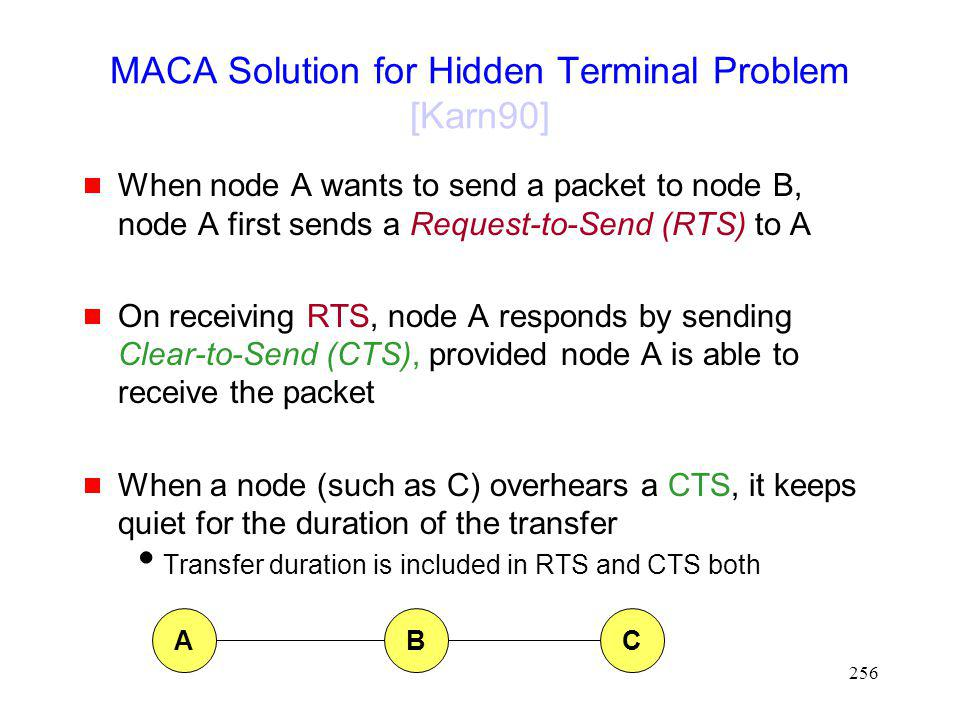 256 MACA Solution for Hidden Terminal Problem [Karn90] When node A wants to send a packet to node B, node A first sends a Request-to-Send (RTS) to A On receiving RTS, node A responds by sending Clear-to-Send (CTS), provided node A is able to receive the packet When a node (such as C) overhears a CTS, it keeps quiet for the duration of the transfer Transfer duration is included in RTS and CTS both ABC