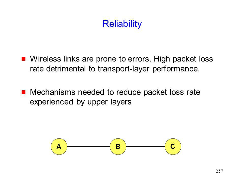257 Reliability Wireless links are prone to errors.