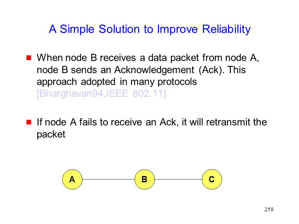 258 A Simple Solution to Improve Reliability When node B receives a data packet from node A, node B sends an Acknowledgement (Ack).
