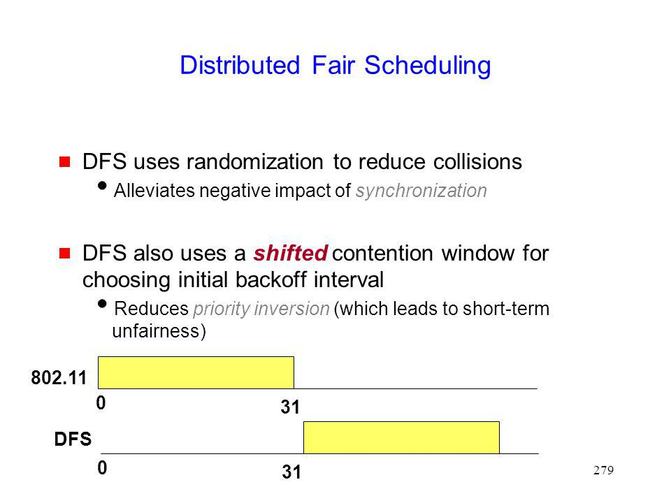 279 Distributed Fair Scheduling DFS uses randomization to reduce collisions Alleviates negative impact of synchronization DFS also uses a shifted contention window for choosing initial backoff interval Reduces priority inversion (which leads to short-term unfairness) 0 31 0 802.11 DFS