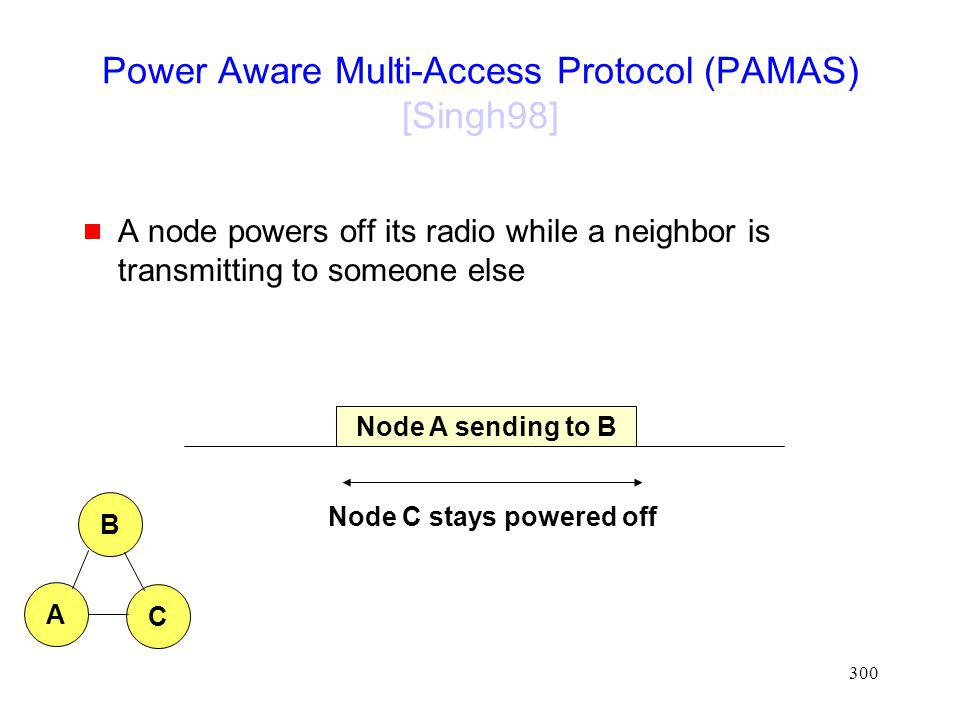 300 Power Aware Multi-Access Protocol (PAMAS) [Singh98] A node powers off its radio while a neighbor is transmitting to someone else Node A sending to B Node C stays powered off C B A