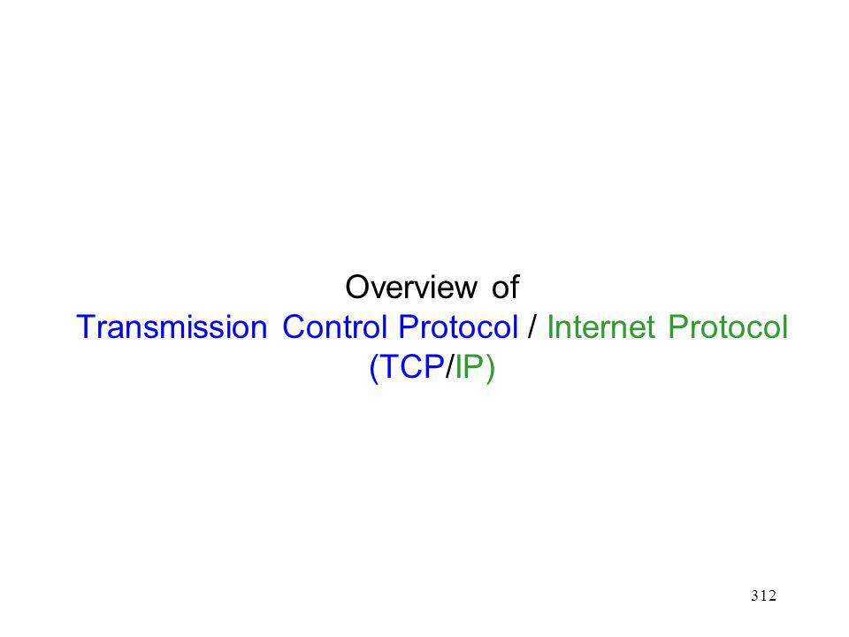 312 Overview of Transmission Control Protocol / Internet Protocol (TCP/IP)