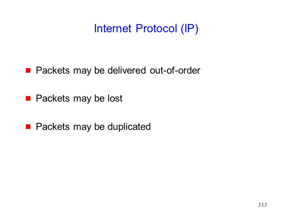 313 Internet Protocol (IP) Packets may be delivered out-of-order Packets may be lost Packets may be duplicated