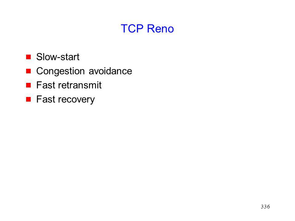 336 TCP Reno Slow-start Congestion avoidance Fast retransmit Fast recovery