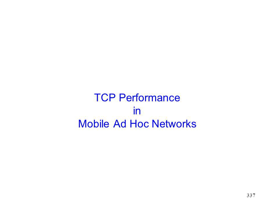 337 TCP Performance in Mobile Ad Hoc Networks