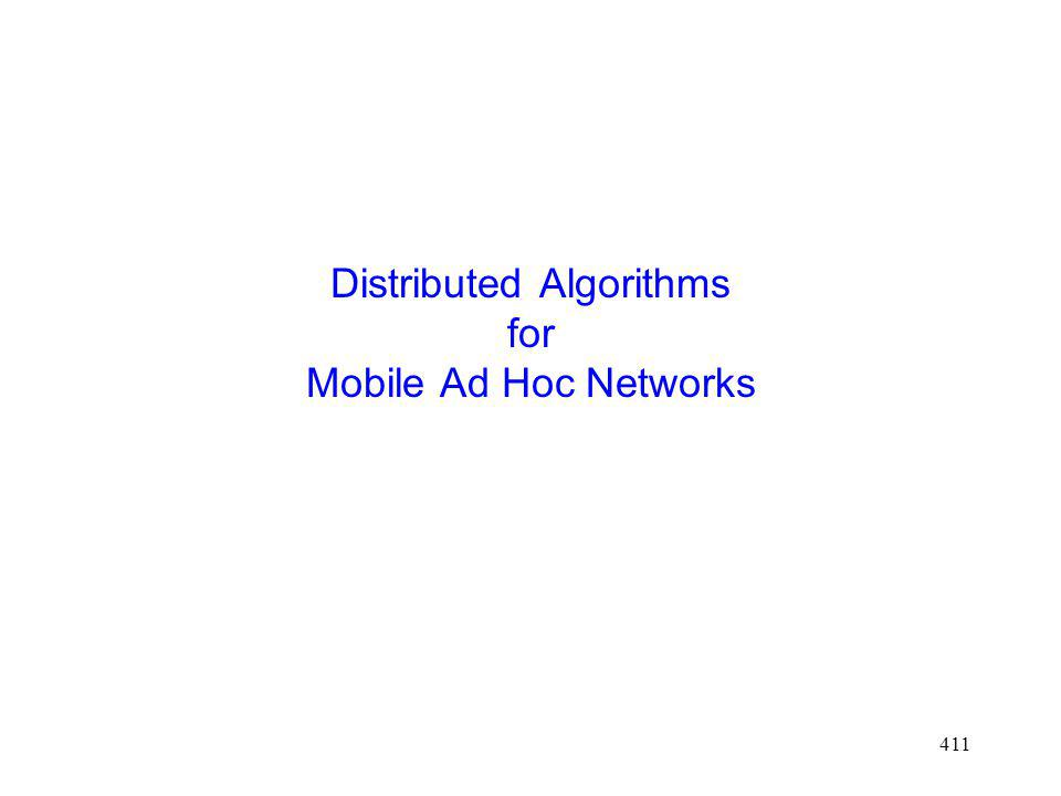 411 Distributed Algorithms for Mobile Ad Hoc Networks