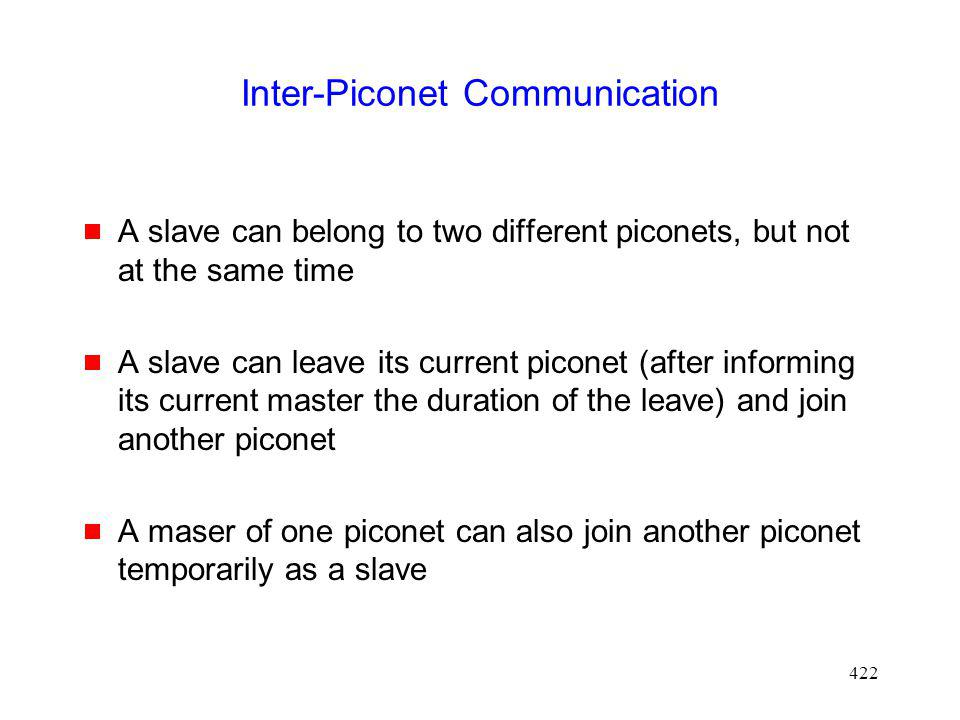 422 Inter-Piconet Communication A slave can belong to two different piconets, but not at the same time A slave can leave its current piconet (after informing its current master the duration of the leave) and join another piconet A maser of one piconet can also join another piconet temporarily as a slave