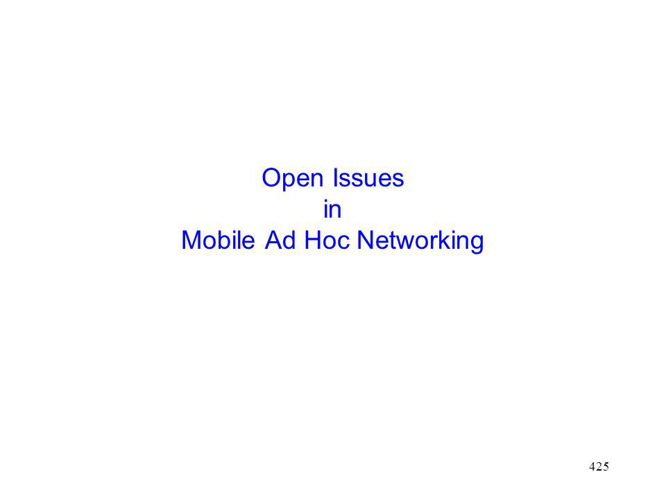425 Open Issues in Mobile Ad Hoc Networking