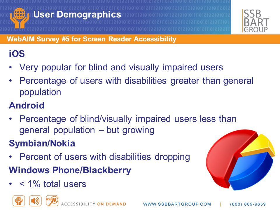 User Impact Overview Blind Keyboard/accessible touchscreen Name, role, state, and properties Dynamically updating content Low vision Visual focus, size of content Color and contrast Complexity of layout/size of content Motor Impairment Touch-screen/D-pad access, visual focus Alternative input, one handed operation