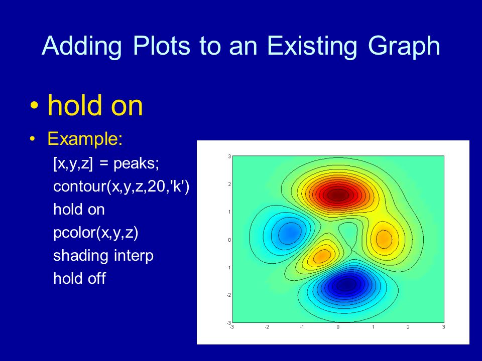 Adding Plots to an Existing Graph hold on Example: [x,y,z] = peaks; contour(x,y,z,20, k ) hold on pcolor(x,y,z) shading interp hold off