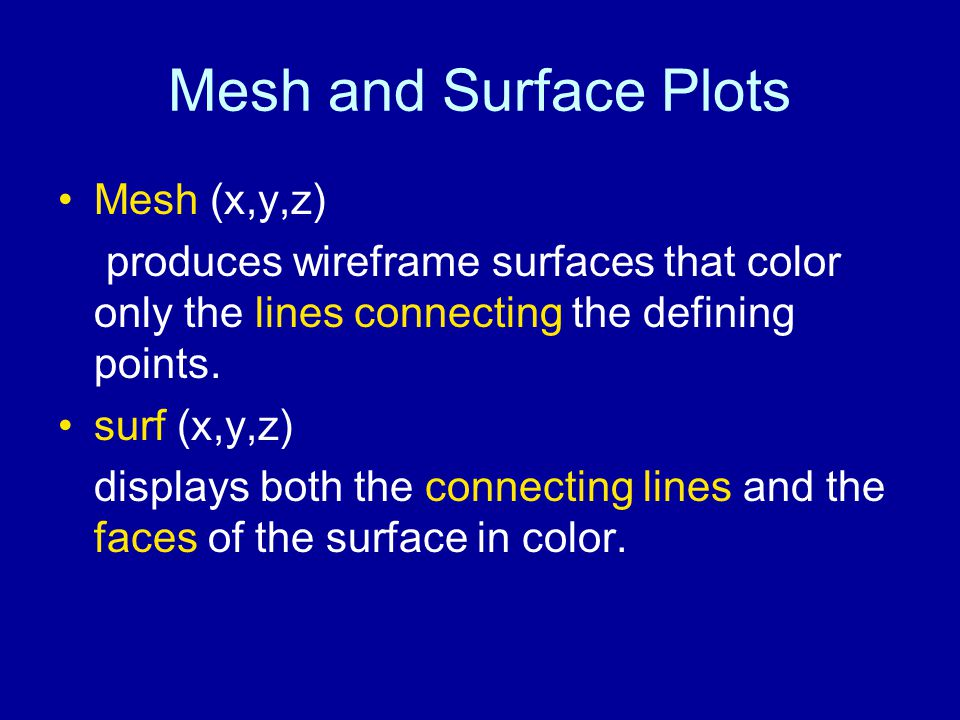 Mesh and Surface Plots Mesh (x,y,z) produces wireframe surfaces that color only the lines connecting the defining points.