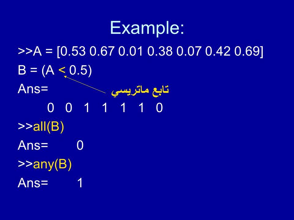 Example: >>A = [0.53 0.67 0.01 0.38 0.07 0.42 0.69] B = (A < 0.5) Ans= 0 0 1 1 1 1 0 >>all(B) Ans=0 >>any(B) Ans=1 تابع ماتريسي