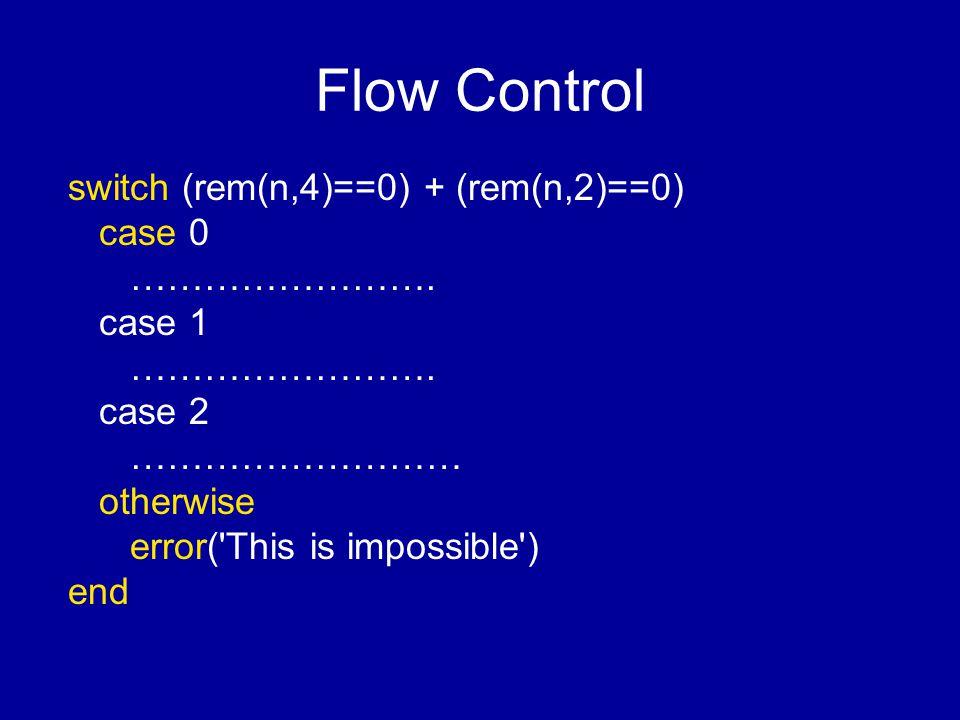Flow Control switch (rem(n,4)==0) + (rem(n,2)==0) case 0 …………………….