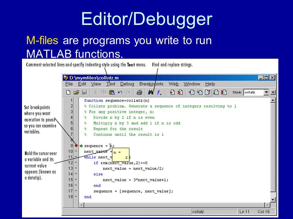 Editor/Debugger M-files are programs you write to run MATLAB functions.