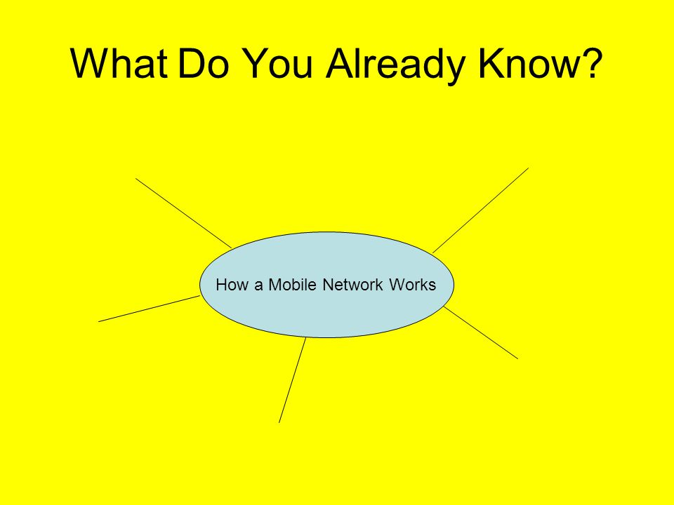 What Do You Already Know How a Mobile Network Works