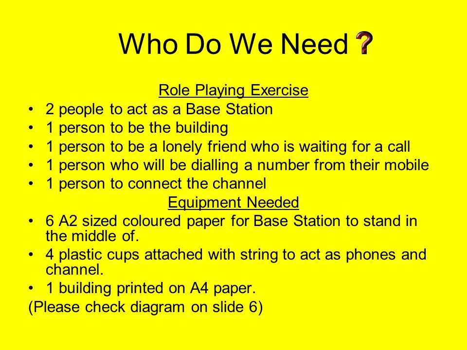 Who Do We Need Role Playing Exercise 2 people to act as a Base Station 1 person to be the building 1 person to be a lonely friend who is waiting for a call 1 person who will be dialling a number from their mobile 1 person to connect the channel Equipment Needed 6 A2 sized coloured paper for Base Station to stand in the middle of.