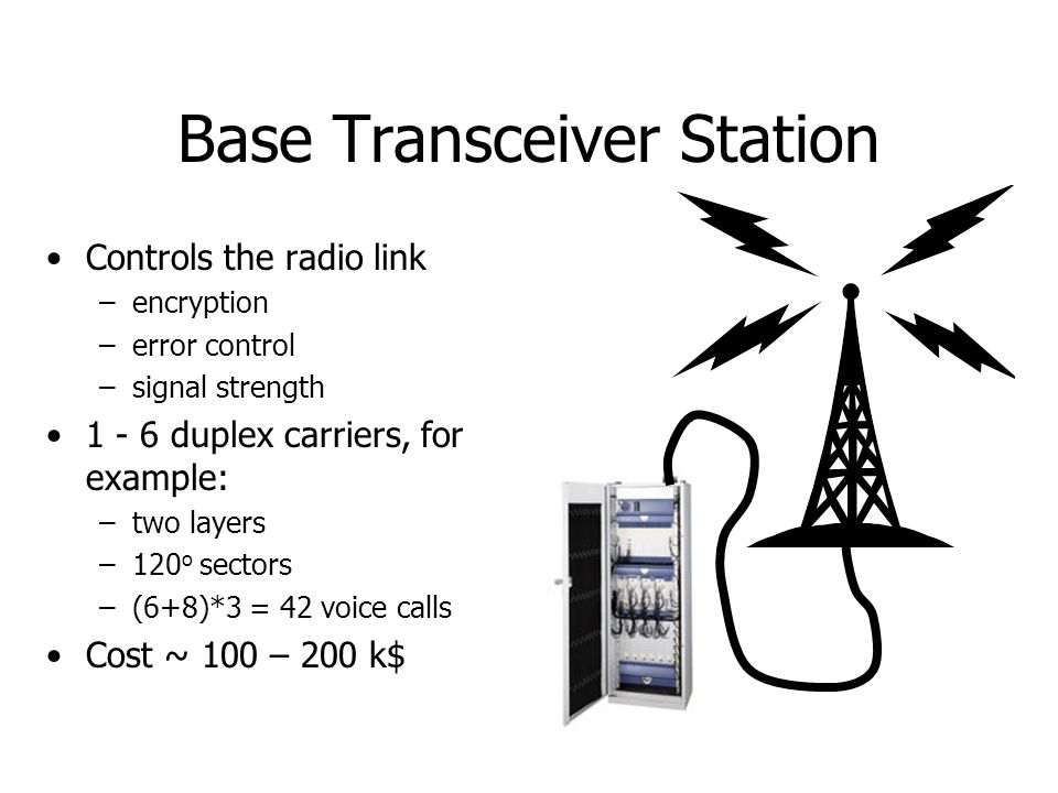 Base Station Controller communication with the mobile terminal –local hand-over –voice codecs –carrier allocation –paging to terminals talks to the MSC serves up to 40 BTSs could be co-located with MSC