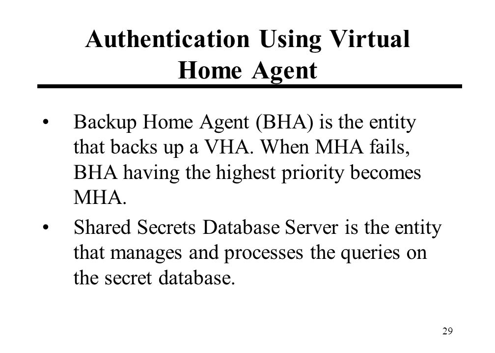 29 Authentication Using Virtual Home Agent Backup Home Agent (BHA) is the entity that backs up a VHA.
