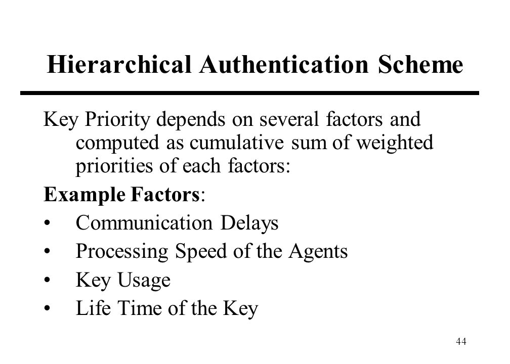 44 Hierarchical Authentication Scheme Key Priority depends on several factors and computed as cumulative sum of weighted priorities of each factors: E