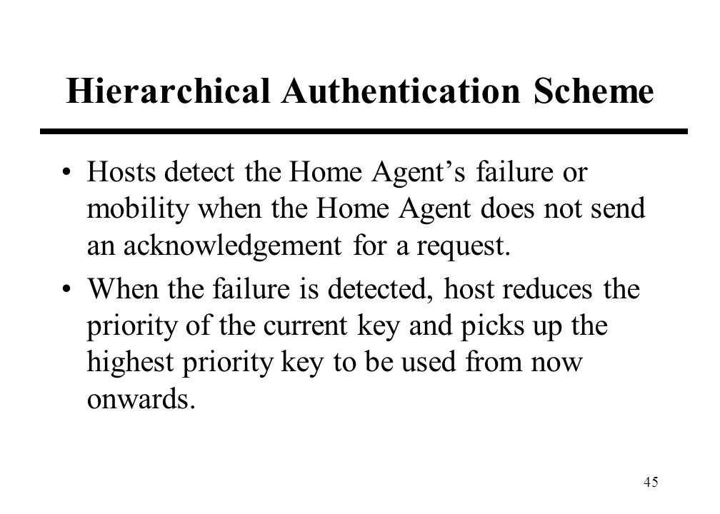45 Hierarchical Authentication Scheme Hosts detect the Home Agents failure or mobility when the Home Agent does not send an acknowledgement for a request.