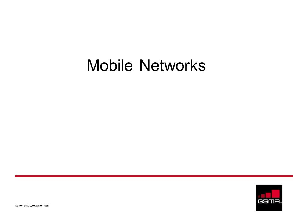 Source: GSM Association, 2010 Mobile Networks