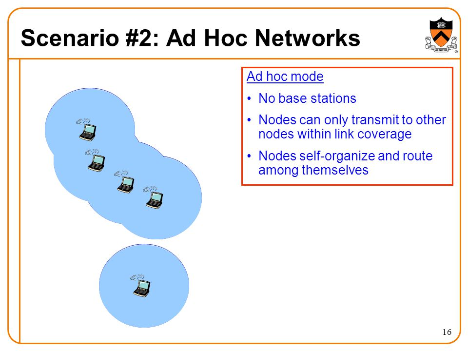 16 Scenario #2: Ad Hoc Networks Ad hoc mode No base stations Nodes can only transmit to other nodes within link coverage Nodes self-organize and route among themselves