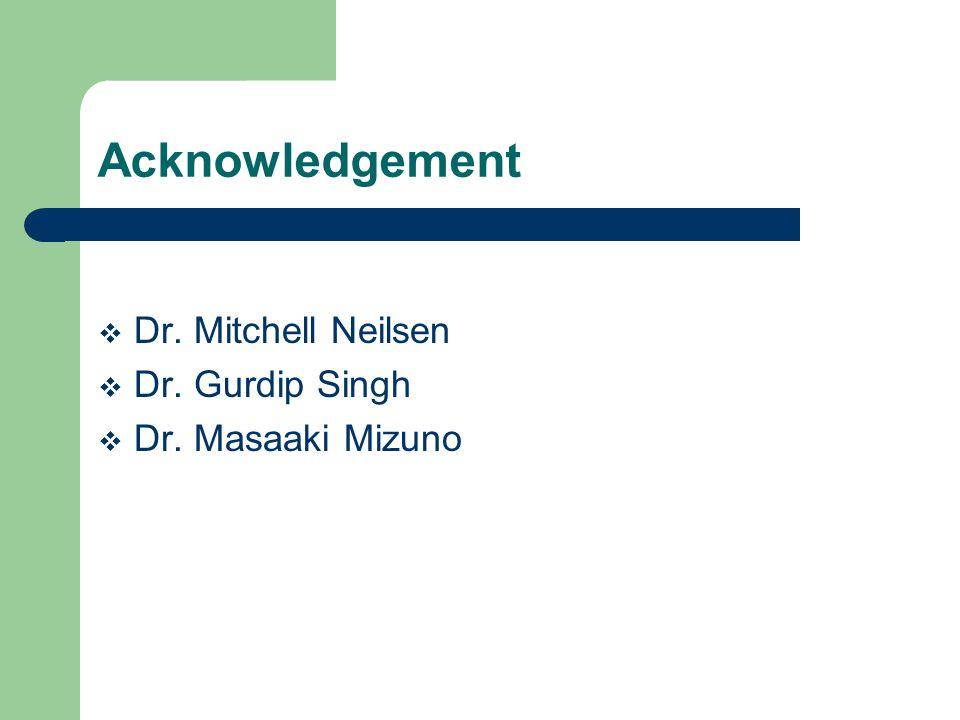 Acknowledgement Dr. Mitchell Neilsen Dr. Gurdip Singh Dr. Masaaki Mizuno