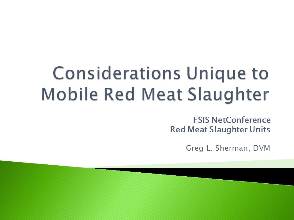 In general, the evolution of a mobile slaughter facility requires a great deal of creative thinking and problem solving because the Federal Regulations are based on fixed slaughter facilities.