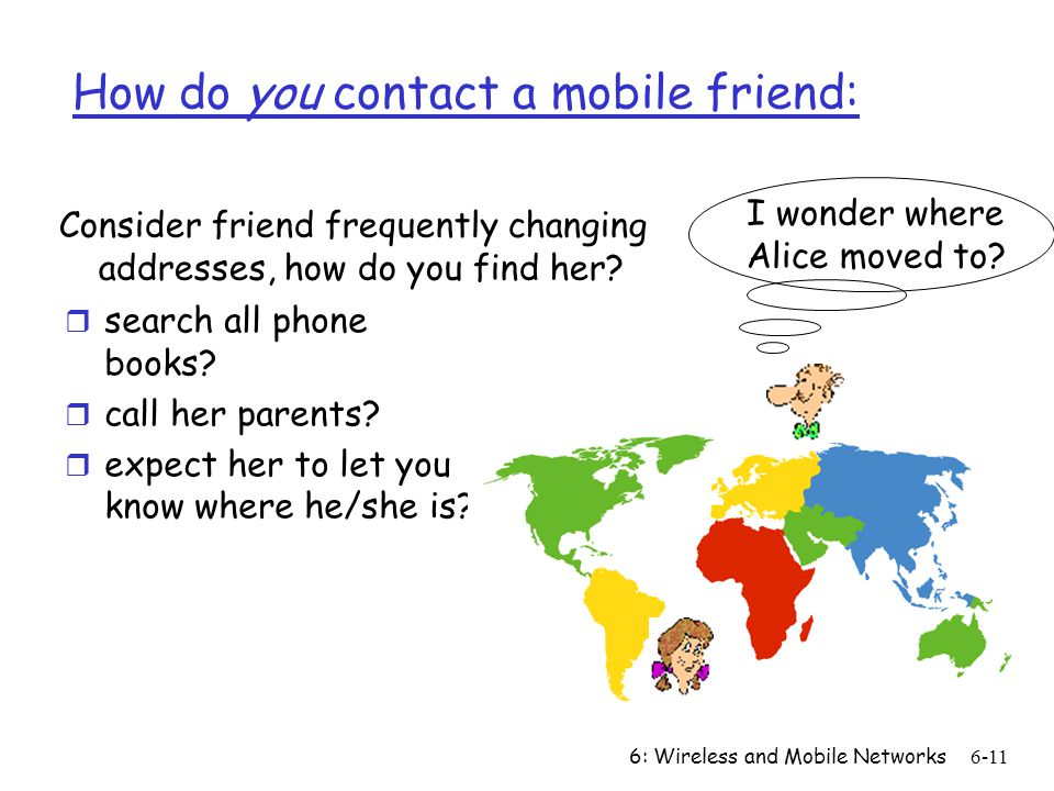 6: Wireless and Mobile Networks6-11 How do you contact a mobile friend: r search all phone books.