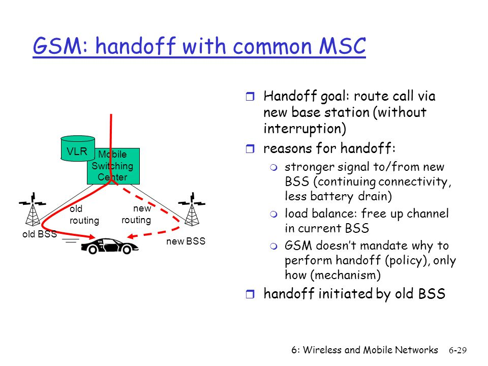 6: Wireless and Mobile Networks6-29 Mobile Switching Center VLR old BSS new BSS old routing new routing GSM: handoff with common MSC r Handoff goal: route call via new base station (without interruption) r reasons for handoff: m stronger signal to/from new BSS (continuing connectivity, less battery drain) m load balance: free up channel in current BSS m GSM doesnt mandate why to perform handoff (policy), only how (mechanism) r handoff initiated by old BSS