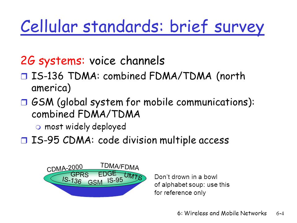 6: Wireless and Mobile Networks6-4 Cellular standards: brief survey 2G systems: voice channels r IS-136 TDMA: combined FDMA/TDMA (north america) r GSM (global system for mobile communications): combined FDMA/TDMA m most widely deployed r IS-95 CDMA: code division multiple access IS-136 GSM IS-95 GPRS EDGE CDMA-2000 UMTS TDMA/FDMA Dont drown in a bowl of alphabet soup: use this for reference only
