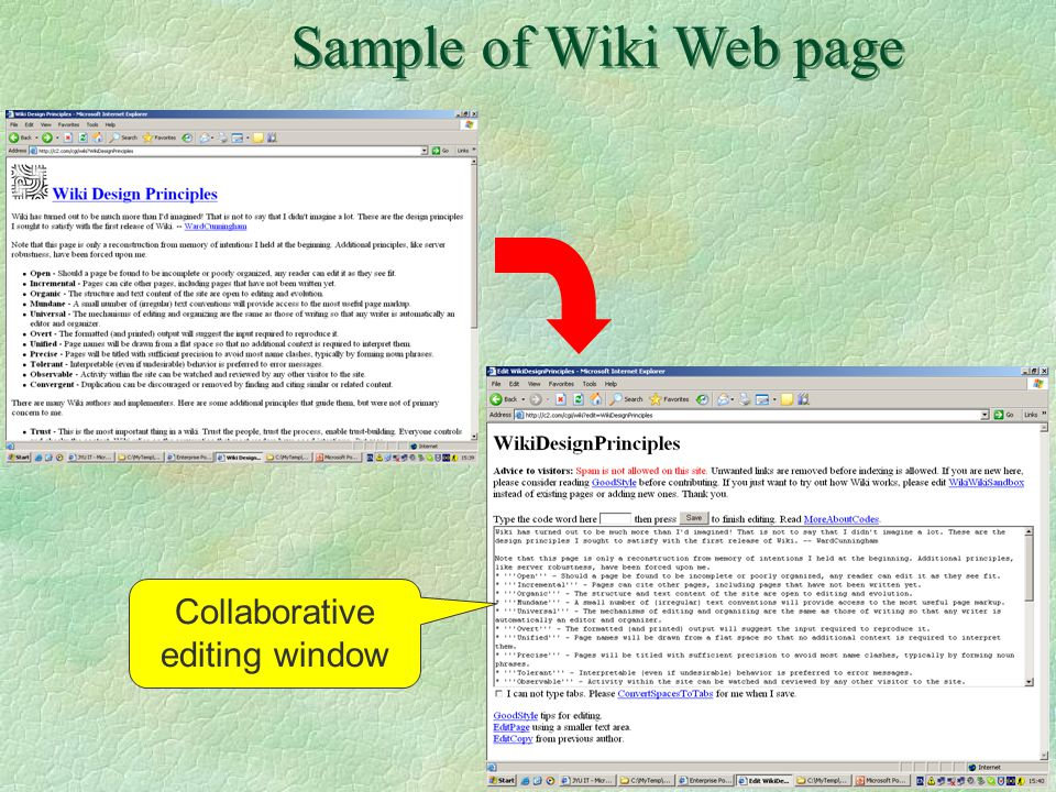 17 Sample of Wiki Web page Collaborative editing window