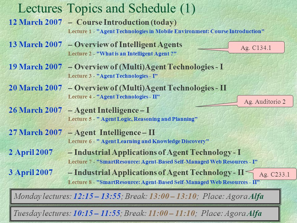 4 Lectures Topics and Schedule (1) 12 March 2007– Course Introduction (today) Lecture 1 - Agent Technologies in Mobile Environment: Course Introductio