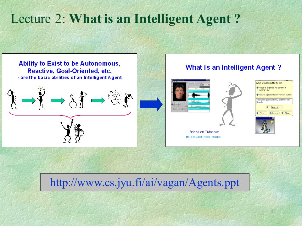 41 Lecture 2: What is an Intelligent Agent ? http://www.cs.jyu.fi/ai/vagan/Agents.ppt